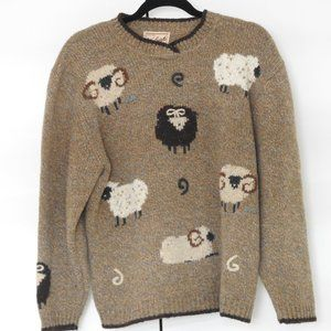 Vintage Wool sweater with sheep print
